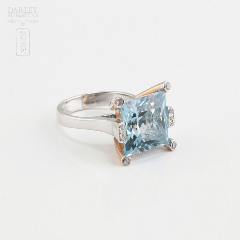 Bicolor ring in pink and white gold, topaz 9.55cts diamonds - 3