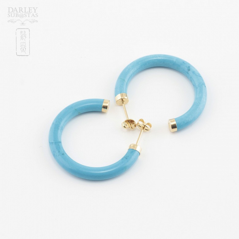 Earrings Turquoise in yellow gold - 3
