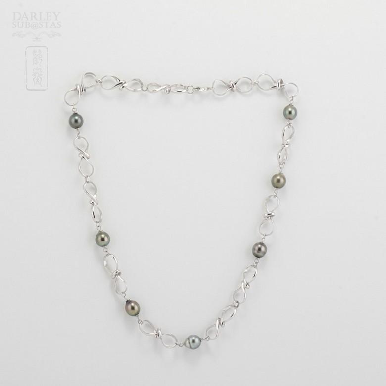 天然大溪地珍珠配925纯银项链 - 3