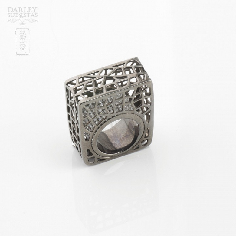 Original ring in silver and black rhodium law - 4