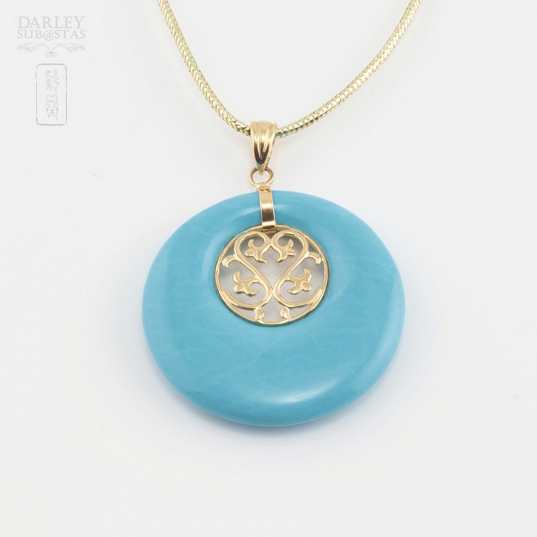Original pendant in 18k gold and natural turquoise - 3