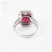 Anillo con rubí 8.25cts y diamantes en oro blanco de 18k - 1