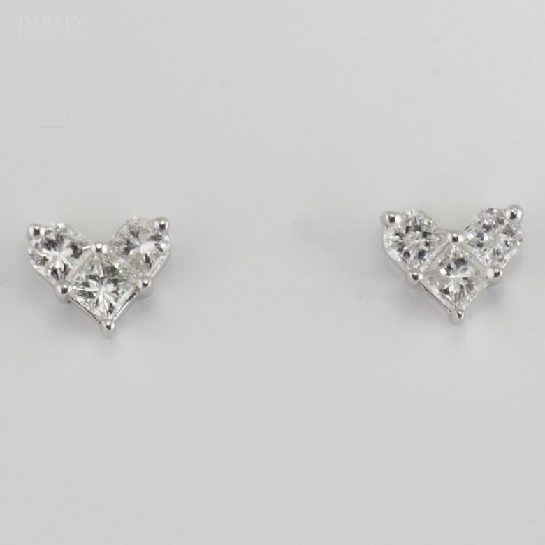 Pair of earrings in 18k white gold and diamonds. - 4