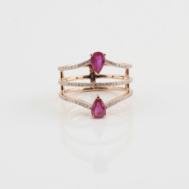 Precioso anillo oro rosa 18k, rubí y diamantes - 1