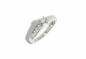 SSolitario oro blanco de 18k y diamantes