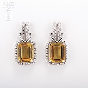 Excellent citrine earrings with diamonds