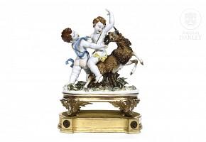 An Algora porcelain sculptural group, 20th century