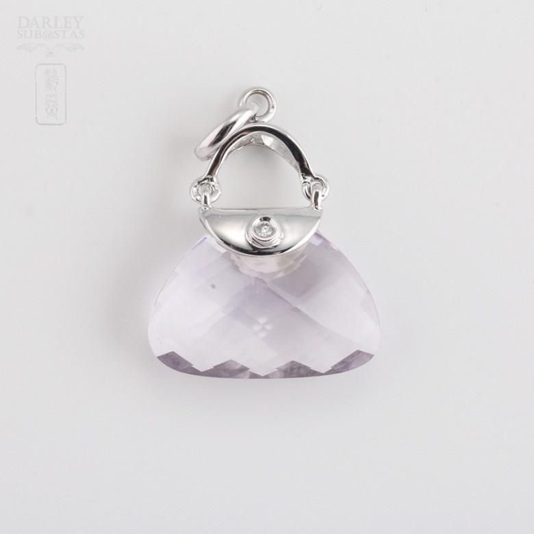 7.17克拉天然紫晶配钻石18K白金挂坠