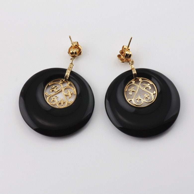 earrings  natural onyx  in 18k yellow gold - 2