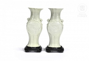 Pair of biscuit vases signed Wang Bingrong.