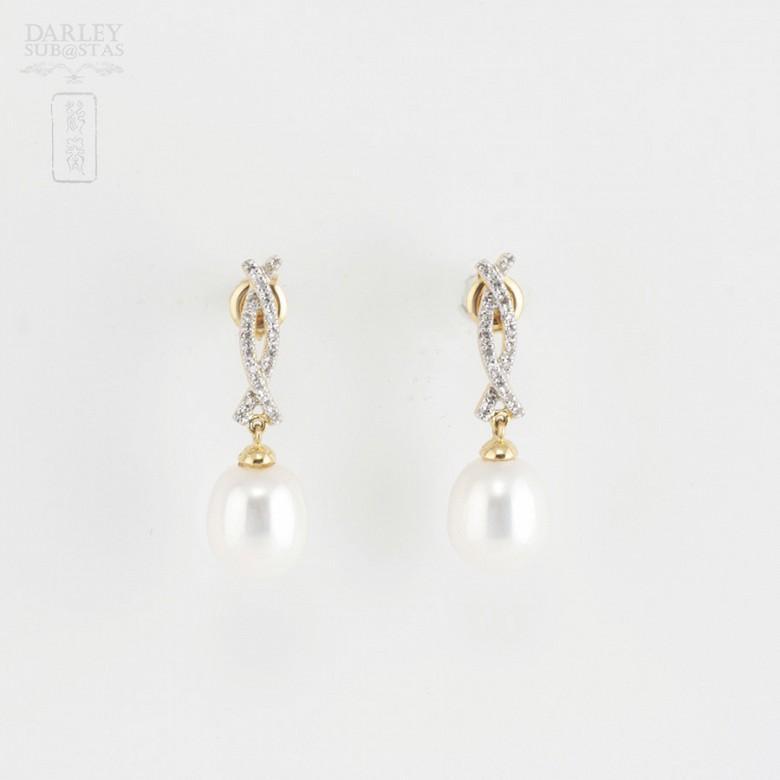 Bonitos pendientes perla y diamantes