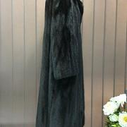 Nice mink fur coat dark brown color and long cut. - 4