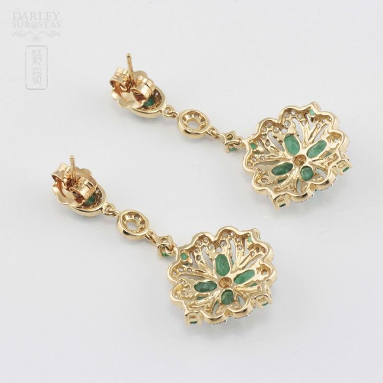 18K黄金镶钻石配祖母绿耳环 - 3