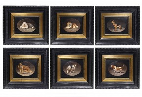 Lot of six paintings of dogs, 20th century