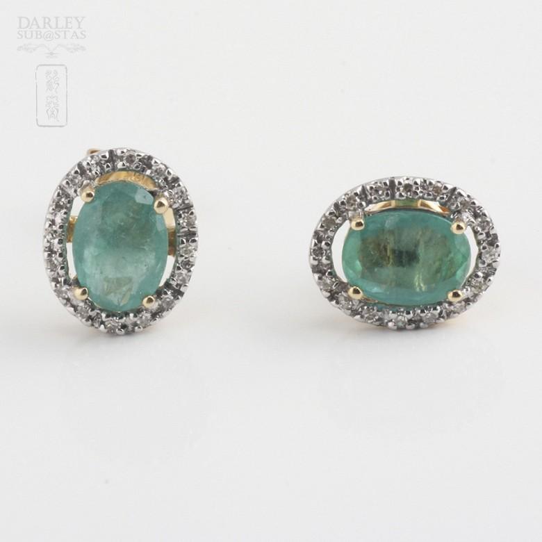 18k yellow gold, emerald and diamond earrings - 2