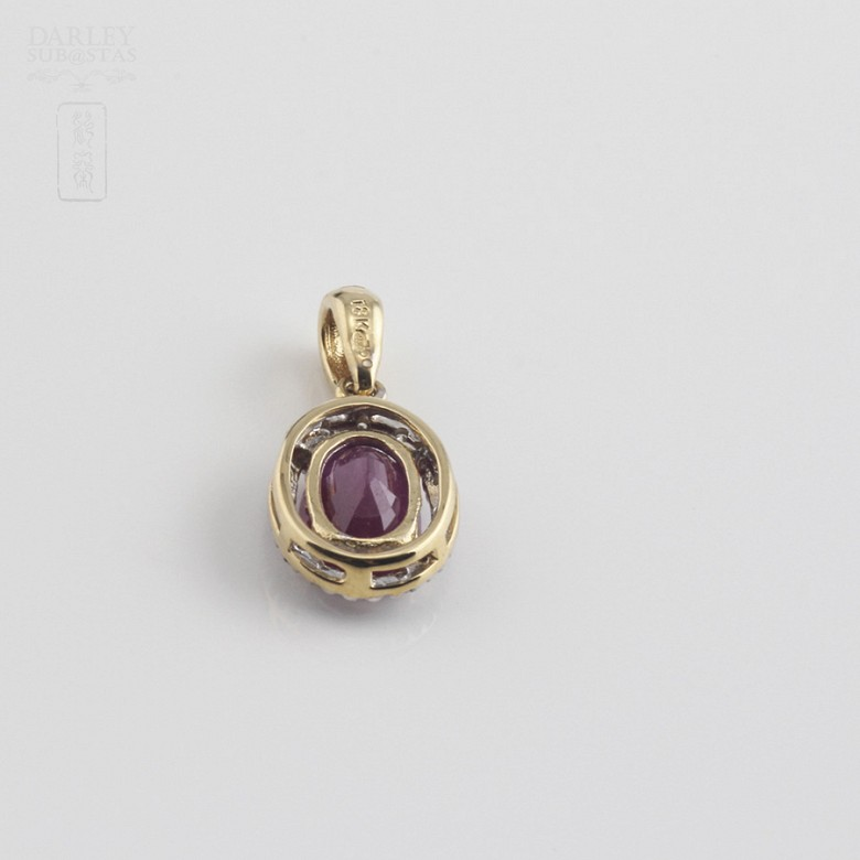 pendant with  ruby 0.95cts and diamond  in yellow gold - 1