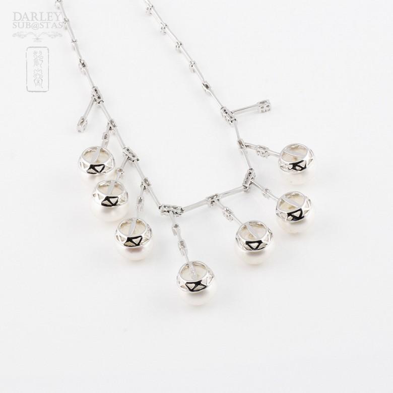 天然珍珠配钻石18k白金项链 - 1