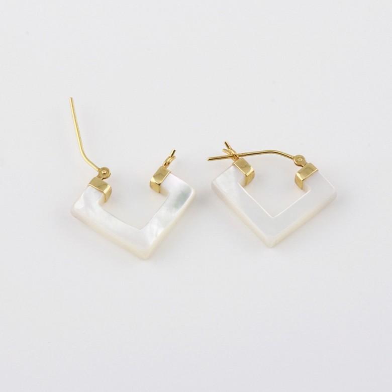 天然珍珠母配18K黄金耳环 - 2