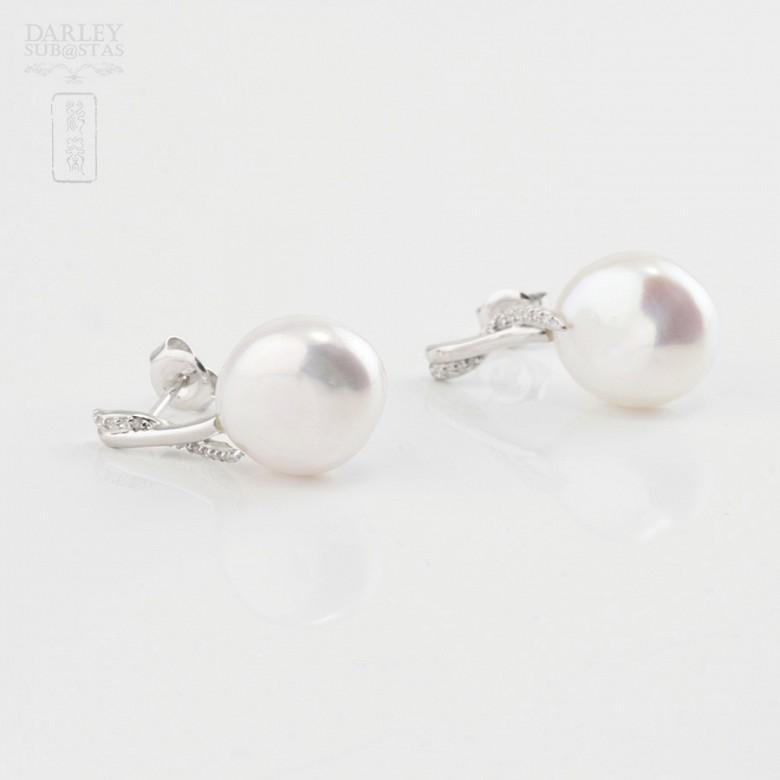 Pendientes perla barroca y diamantes - 1