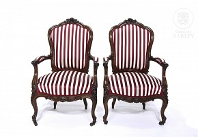 Pair of stamped armchairs