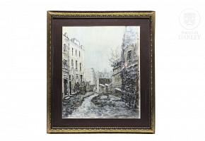 "Juan Sevilla Saez (1922) ""Street view"""