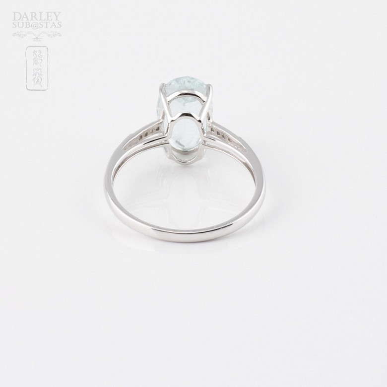 2.18克拉海蓝宝石配钻石18K白金戒指 - 3
