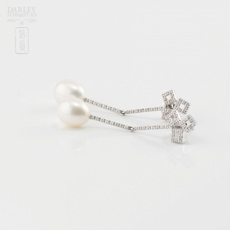 18K白金配圆白珍珠钻石耳环 - 2