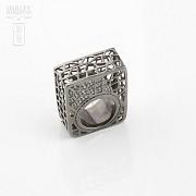 Original anillo en plata ley y rodio negro - 4