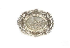 Silver centerpiece with gallant scene. Some restorations.
