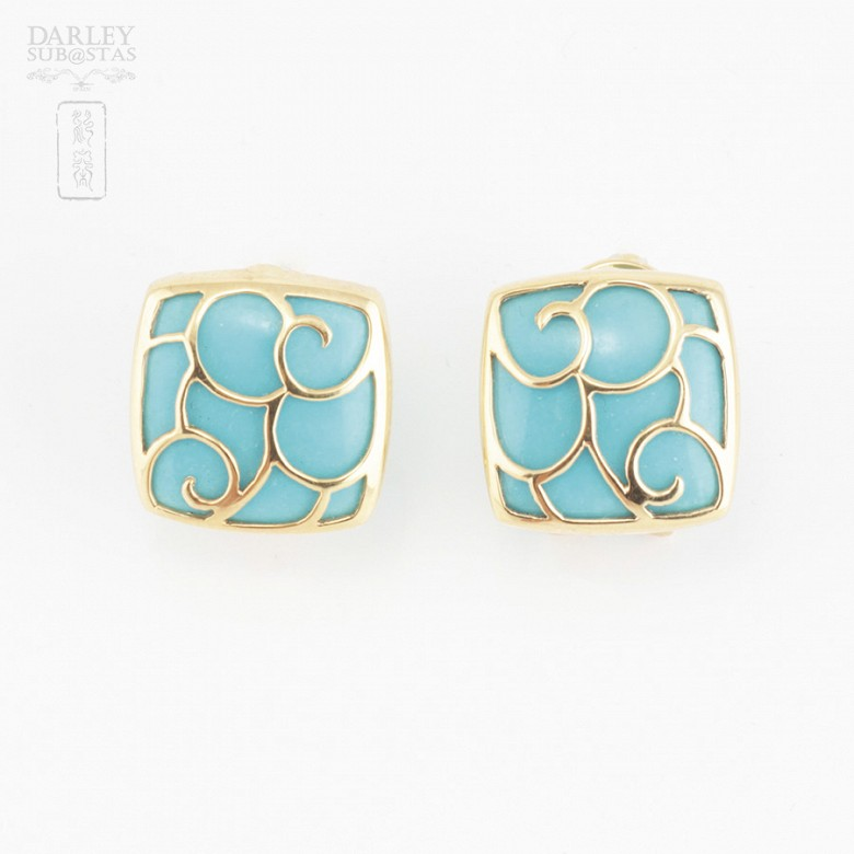 18k yellow gold and natural turquoise earrings - 1