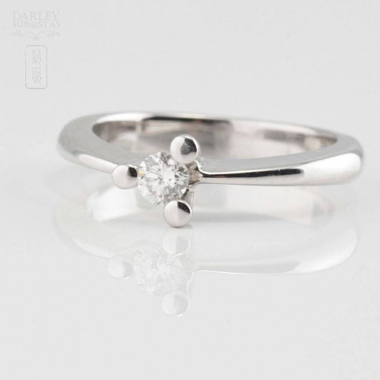 18k白金镶 0.16 克拉鑽石戒指 - 1