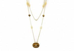 Gargantilla de oro amarillo de 18k con ojo de tigre, diamantes y zafiros.