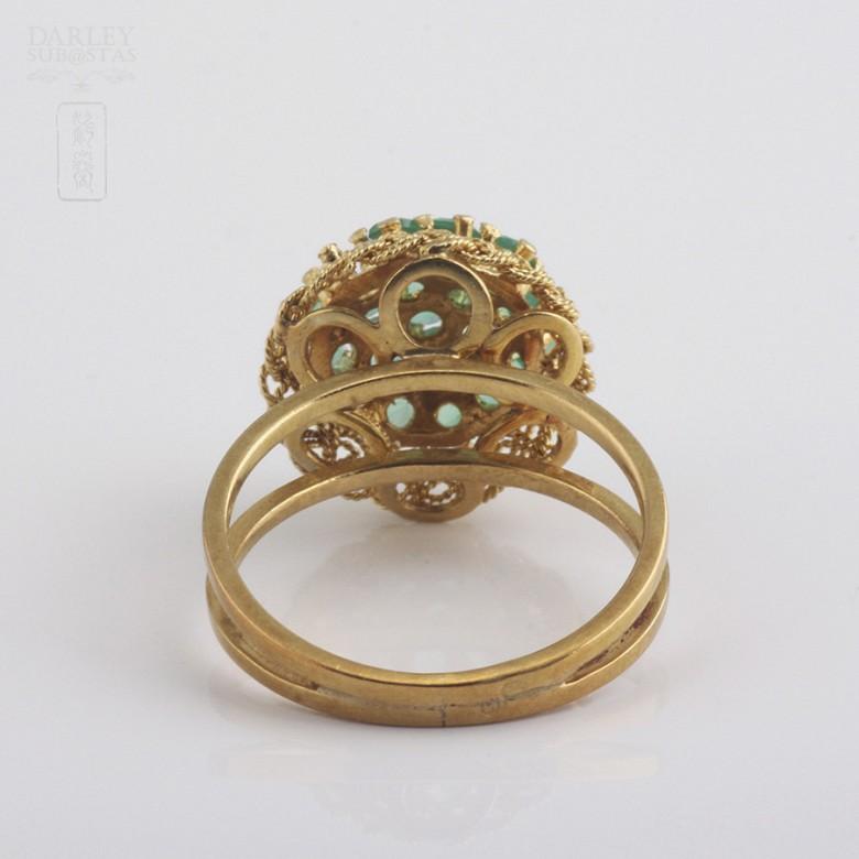 1.5克拉祖母绿18K黄金戒指 - 2