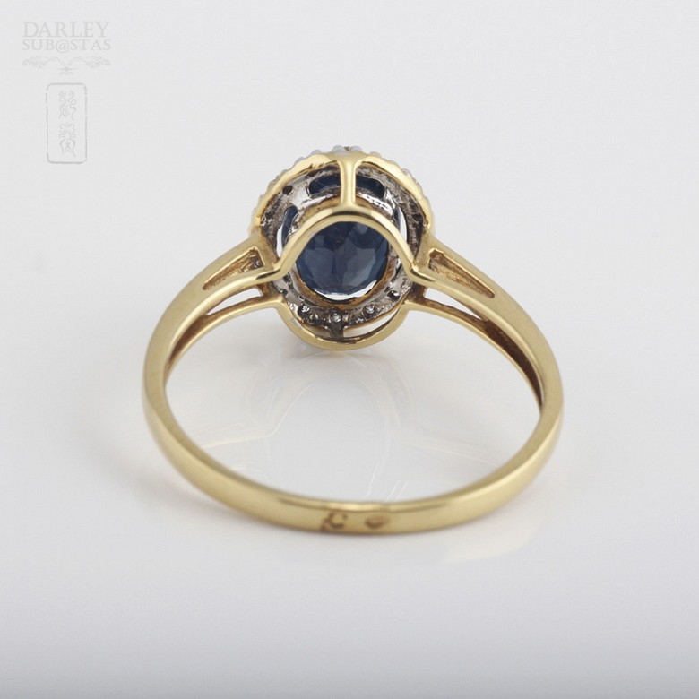 Ring with Sapphire and diamond  in yellow gold - 2