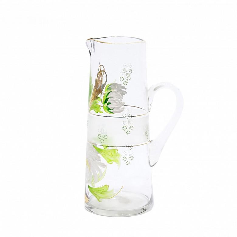 Hand-painted glass jug, 20th century