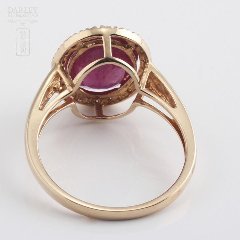 3.24克拉天然红宝石配钻石18K玫瑰金戒指 - 2