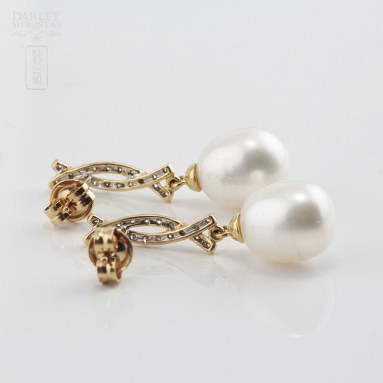 Bonitos pendientes perla y diamantes - 3