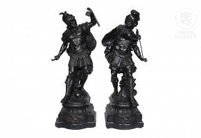 Pair of calamine warriors, 20th century