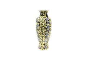 Gran jarrón en porcelana china, familia amarilla con ponías en azul y blanco, s.XX