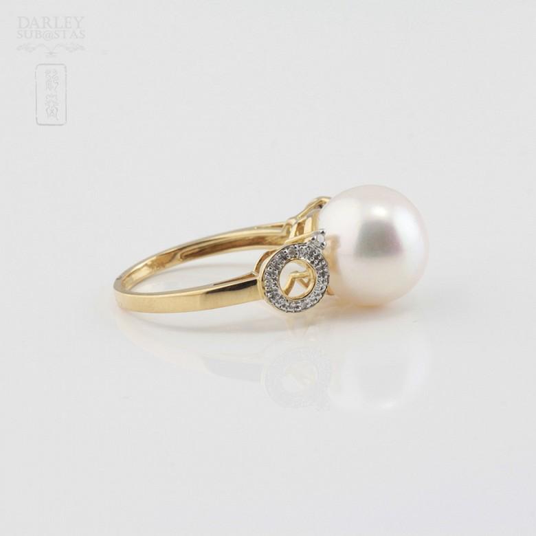 18K白金钻石白珍珠戒指 - 2