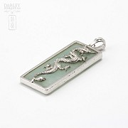 Sterling silver pendant and jade - 2