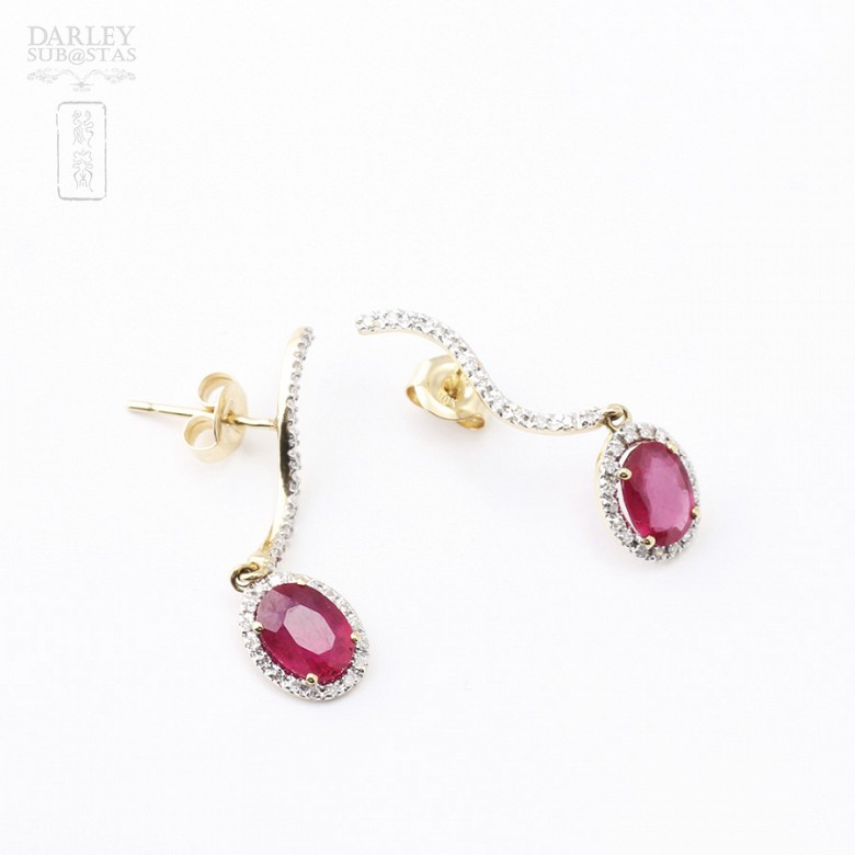 Earrings ruby and 2.18cts diamond in 18k yellow gold - 3