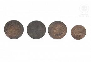 Cuatro monedas de Borneo, s.XIX