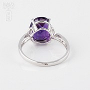 Ring Amethyst 3.08cts and diamonds in 18k white gold - 2