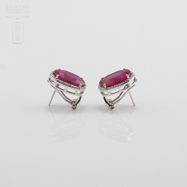 Earrings with ruby10.05cts and diamonds in white gold - 1