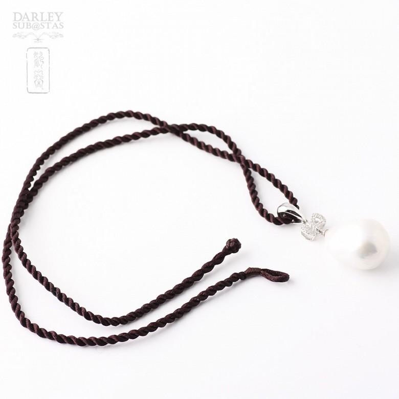 奇型白珍珠配钻石18K白金吊坠 - 2