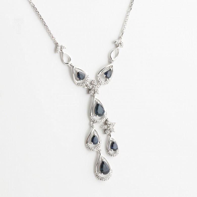 Precious necklace 18k white gold, sapphires and diamonds - 4