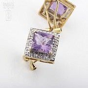 Elegant pair of earrings in 18k yellow gold with amethyst and diamonds - 3