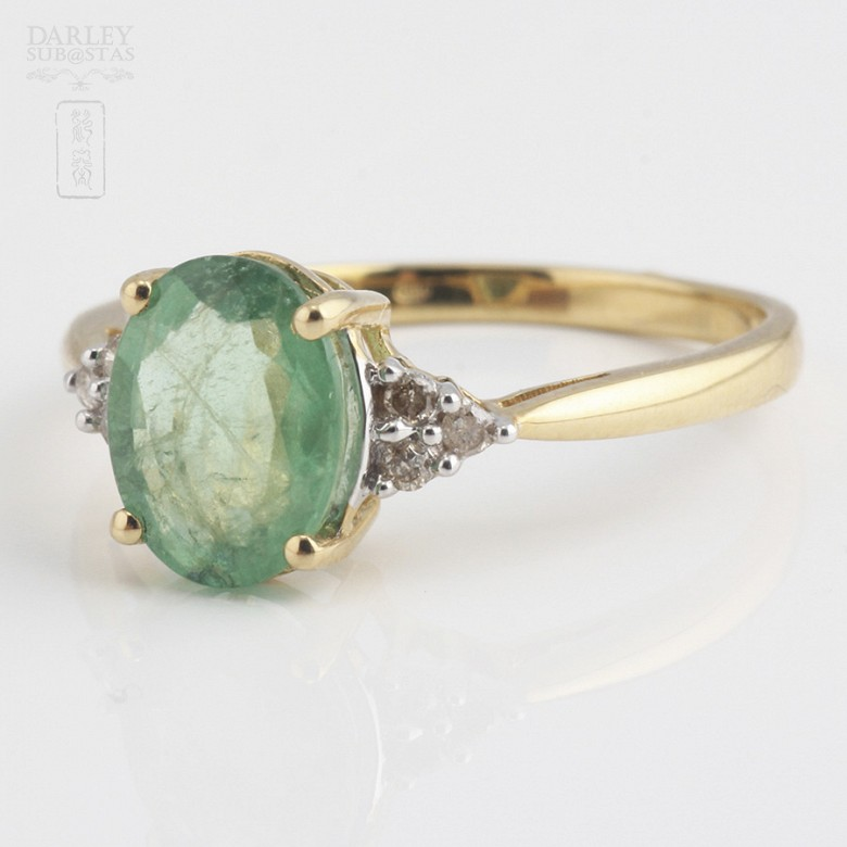 Ring emerald  1.78cts and diamond 18k yellow gold - 4