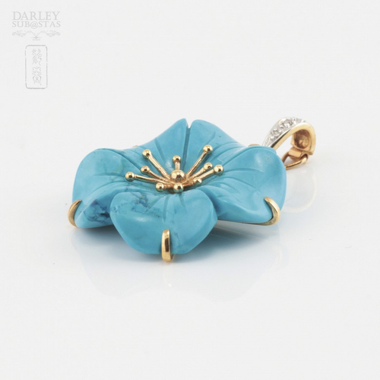 Natural turquoise pendant, 18k gold and diamonds - 2